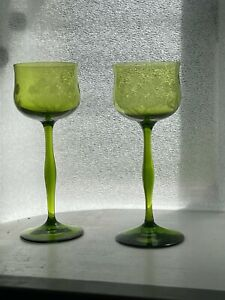 Set 2 Antique Green Glass Wine Hock Goblets Needle Etched c.1910 Germany Austria