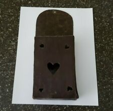 Reproduction Primitive Style Fireplace Match Holder Distressed Metal Hearts