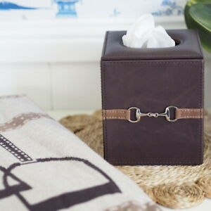 Equestrian Dark Brown Leather Square Tissue Box Hamptons Coastal Home Decor