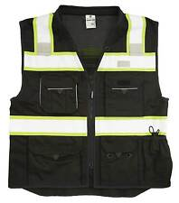 ML KISHIGO B500 Safety Vest, Black with lime yellow and silver reflective Large