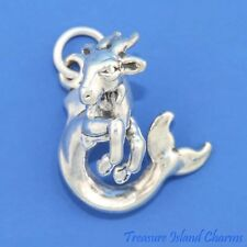 Capricorn Zodiac Sign 3D .925 Solid Sterling Silver Charm MADE IN USA