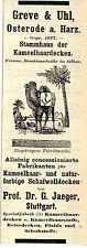 Greve & Uhl Osterrode a.Harz KAMELHAARDECKEN  Historische Reklame von 1912