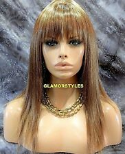 Long Layered With Bangs Golden Blonde Mix Full Synthetic Wig Hair Piece #F14.24