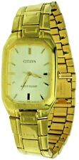 New Old Stock Rectangular Citizen Gold Tone S.Steel Water R Watch 1032-S004390
