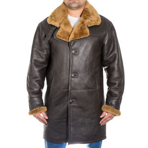 Mens Brown Leather Trench Coat with Ginger Shearling Sheepskin Duffle Coat
