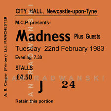 Madness Concert Coasters Ticket February 1983 High quality Coaster