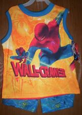SPIDERMAN Pajamas Boy's 8 NeW Shirt Shorts Pjs NWT Spider-Man Wall-Crawler NWT
