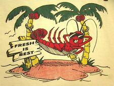 FISH MARKET Michigan seafood tee Fresh is Best XL lobster mascot Erie T shirt