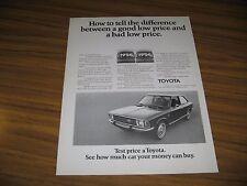1972 Print Ad Toyota Corolla 1200 2-Door Car