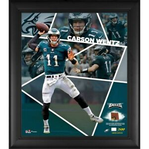 Carson Wentz Eagles Framed 15x17 Collage w/ Piece of Game-Used Football LE 500