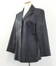 Worthington WOMENS Sz L FITTED BLACK LEATHER JACKET Button Front COAT Sz Large L