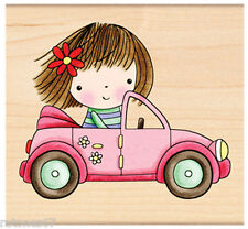 New Penny Black ABOUT TOWN Wood Rubber Stamp Girl Mimi Pink Convertible Fun