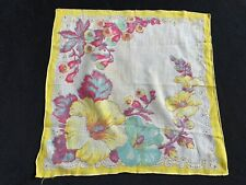 Vintage Ladies' Yellow, Red & White Floral Print Hankie/Handkerchief