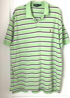 POLO Ralph Lauren Mens  XXL  Green purple white Stripe Cotton Short Sleeve