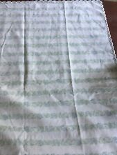 """Yves Delorme Standard Pillow 26 X 20"""" White & Pale Green with  2"""" Border France"""