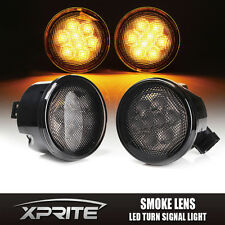 Xprite Smoke Lens LED Turn Signal Replacement Light for 07-18 Jeep Wrangler JK