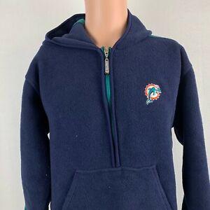 Starter Miami Dolphins Fleece Hoodie Sweatshirt Vtg 90s NFL Football Blue Size L