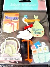 JOLEE'S  Coming Home New Baby, Stork  3D Scrapbook Stickers  4 pc  BABY