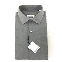 Calvin Klein Men's Regular Fit Spread Collar Dress Shirt, Grey Print, Size 15 32