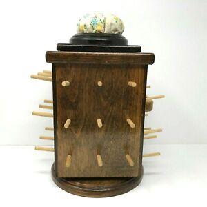 Vintage Handmade 35 Spool Rotating Wooden Thread Rack Notion Holder Organizer
