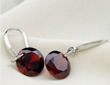 Simple Pendientes Gancho Plata Aretes Colgante Cristal earring Regalo Mujer