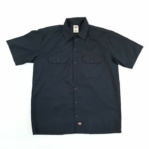 Vintage Dickies Worker Shirt Black L Short Sleeve