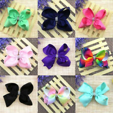 KE_ Girl Rainbow Solid Color Bow Hairpin Large Grosgrain Ribbon Bowknot Hair C