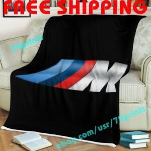 Custom BMW M Car Racing Fleece Blanket Thin Quilt Sofa Cover Garage Fan Gift