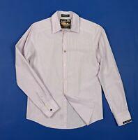Scotch soda bay camicia uomo usato M rosa righe cotone used shirt man T5376