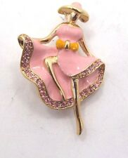 Vintage PINK ENAMEL Rhinestone Ballerina Dancer pin Brooch