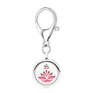 Fashion 25MM Locket Essential Oil Perfume Diffuser Pendant Keychain Ring 5pad