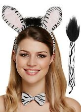 Ladies Zebra Animal Hen Do Party Halloween Fancy Dress Costume Outfit Kit