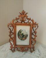 Ornate Vtg Antique Art Nouveau Copper Gold Paint Cast Iron Picture Frame Marked