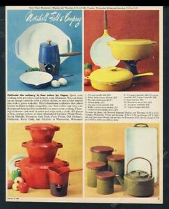1969 Copco blue red yellow green teakettle pan skillet photo Marshall Field's ad