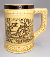 Vintage Japan Mug Mustard Yellow With Horse and Carriage Coffee Tea Cup Ceramic