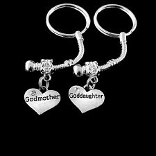 Goddaughter Godmother key chain  set Goddaughter godmother  jewelry godparents