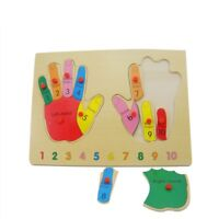 Wooden Puzzle Hand Shape Finger Names Learning Toy Kids Wooden Game Educational