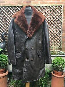 Vintage Military heavy leather & Sheepskin Flying Coat size men's large