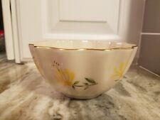 Lenox Ivory Yellow Honeysuckle Flower Dish Gold Trim Scalloped Rim