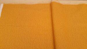Bolt End 112 cm x 23 cm 100% Cotton Fabric Golden Yellow Script Design