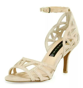 Steve Madden ivory leather suede, open-toe, cut-out, heeled dressy sandals, 5.5