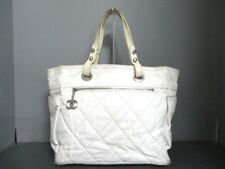 Auth CHANEL Paris Biarritz Tote MM White Ivory Coated Canvas Leather