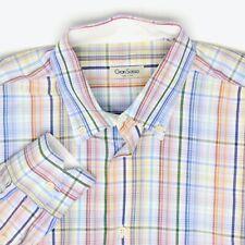 Gran Sasso Hommes Chemise L Rouge Orange Bleu Vert à Carreaux Col Bouton Coton