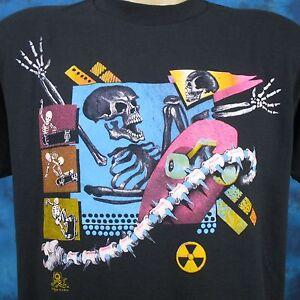 vintage 80s SKATE SKELETON PAPER THIN T-Shirt M/L cartoon surf skull skateboard