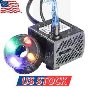 Water Fountain Pump with 4 LED Light Super Silent Small Submersible Water Pump