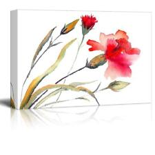 "Red Carnations Blooming Watercolor Painting - Canvas Art Wall Decor - 16"" x 24"""