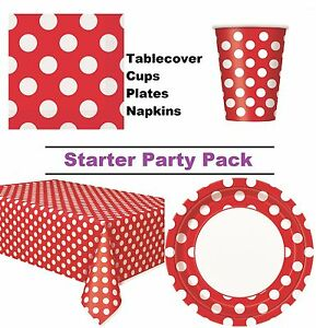 Ruby Red Polka Dot 8-48 Guest Starter Party Pack Cups Plates Napkins