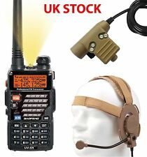 AIRSOFT 2 WAY DUAL BAND RADIO BAOFENG UV-5R + HEADSET + PTT SWITCH SET KIT TAN