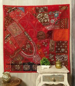 """40"""" RED HUGE SARI BEADED SEQUIN EMBROIDERY DECOR THROW WALL HANGING TAPESTRY"""