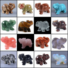 """50mm Hand carved gemstone elephant statue figurine collectible decor 2"""""""